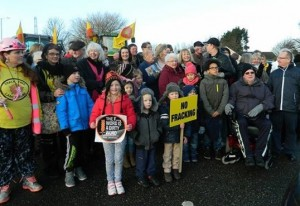 Residents gathered at Preston New Road on Saturday 24th Jan